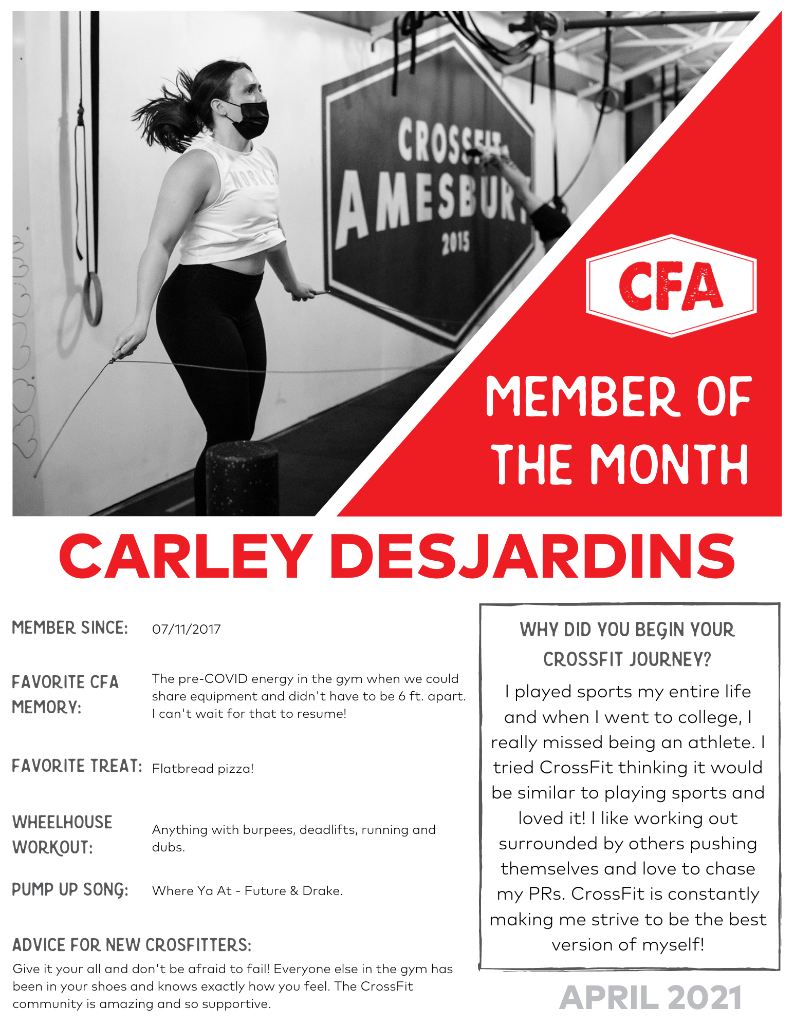 Carley Member of the Month